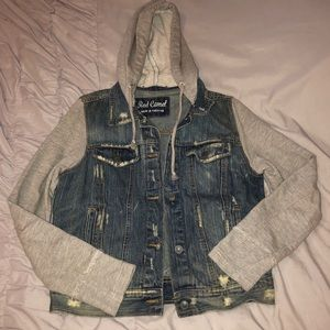 Jean jacket with fabric hood and sleeves